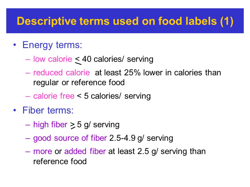 Descriptive terms used on food labels (1)