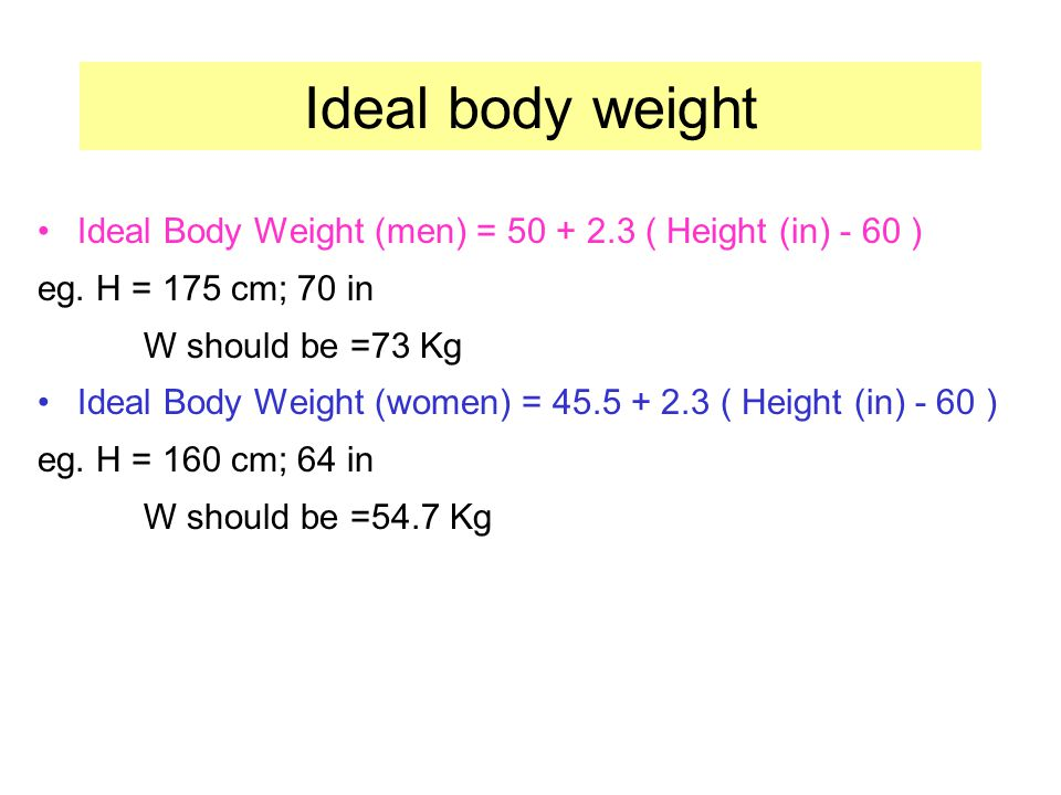 Ideal body weight Ideal Body Weight (men) = 50 + 2.3 ( Height (in) - 60 ) eg. H = 175 cm; 70 in. W should be =73 Kg.