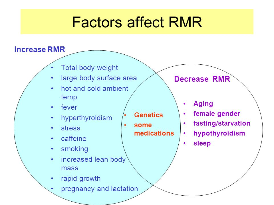 Factors affect RMR Increase RMR Decrease RMR Total body weight