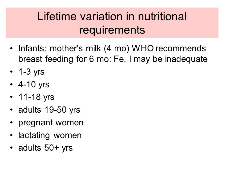 Lifetime variation in nutritional requirements