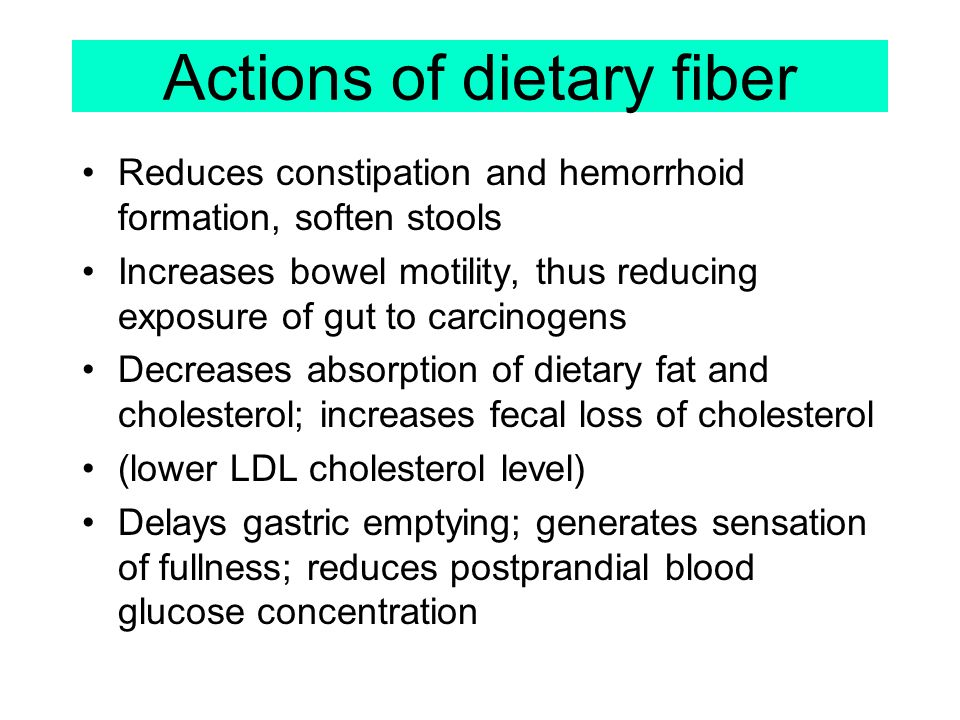 Actions of dietary fiber