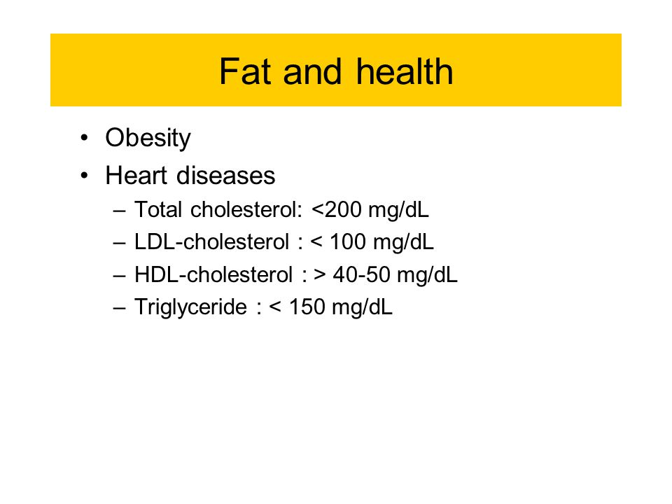 Fat and health Obesity Heart diseases Total cholesterol: <200 mg/dL
