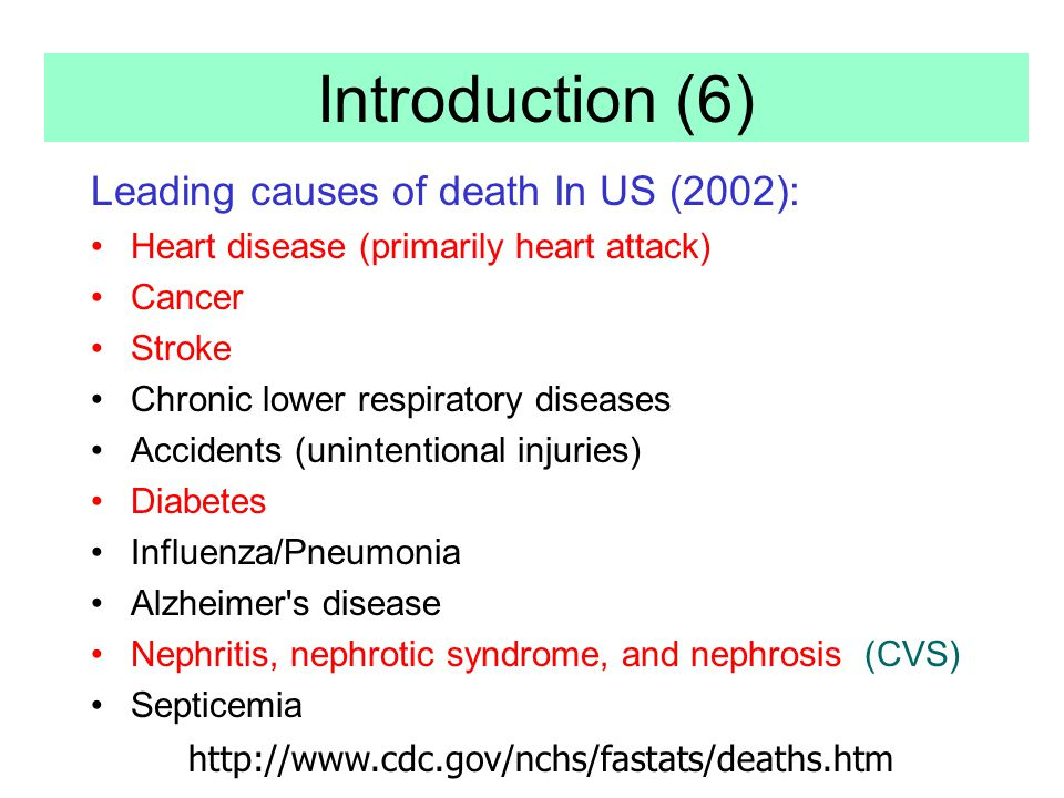 Introduction (6) Leading causes of death In US (2002):