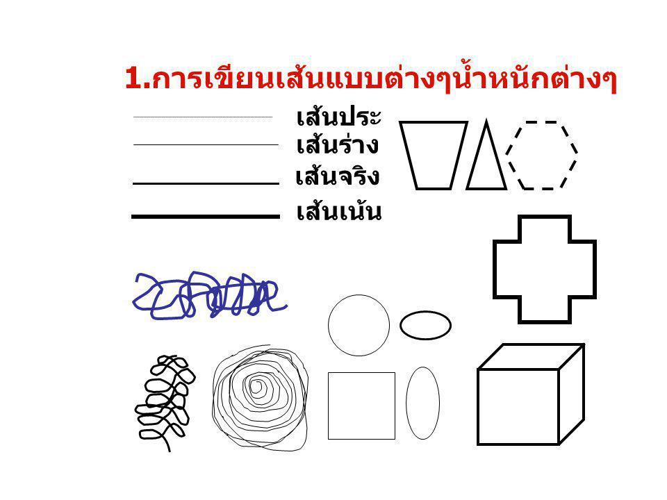 1.การเขียนเส้นแบบต่างๆน้ำหนักต่างๆ