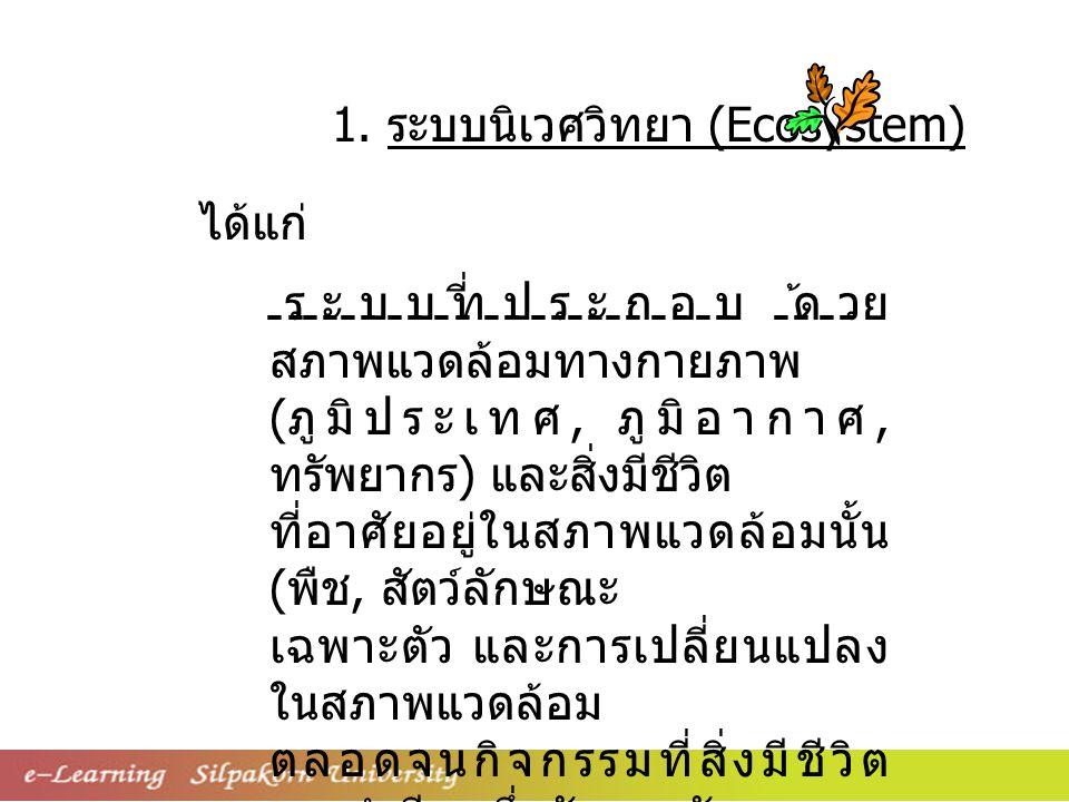 1. ระบบนิเวศวิทยา (Ecosystem)