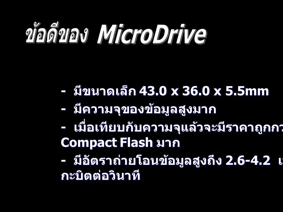 ข้อดีของ MicroDrive - มีขนาดเล็ก 43.0 x 36.0 x 5.5mm