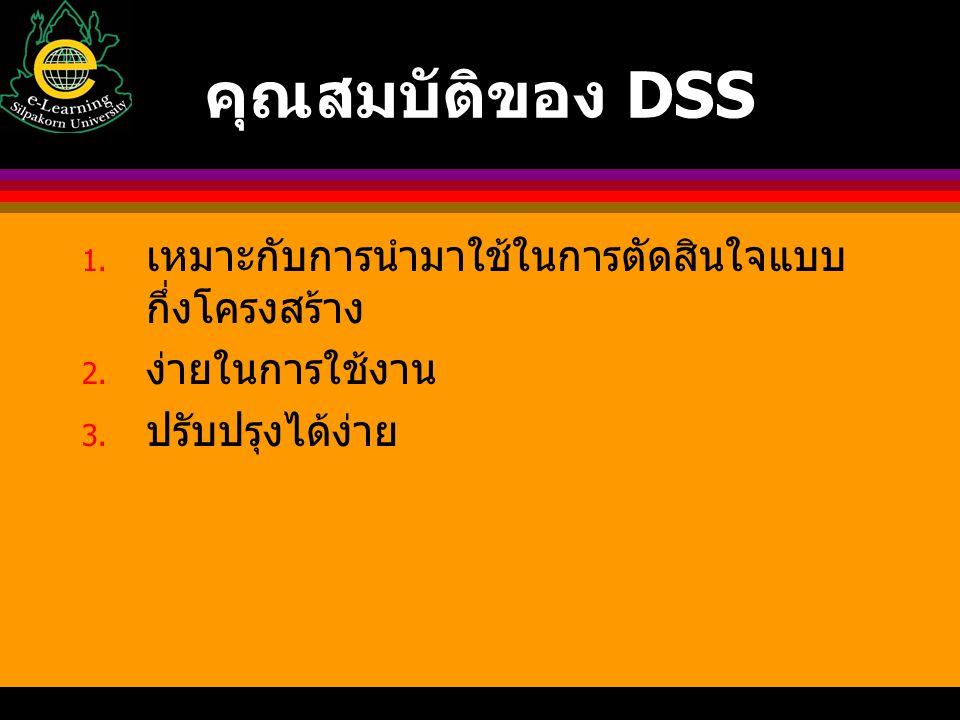 คุณสมบัติของ DSS เหมาะกับการนำมาใช้ในการตัดสินใจแบบกึ่งโครงสร้าง