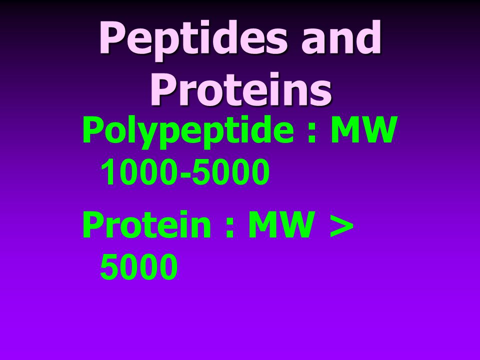 Peptides and Proteins Polypeptide : MW