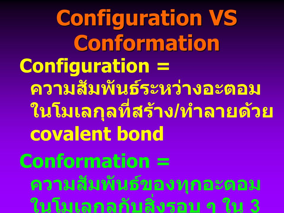 Configuration VS Conformation