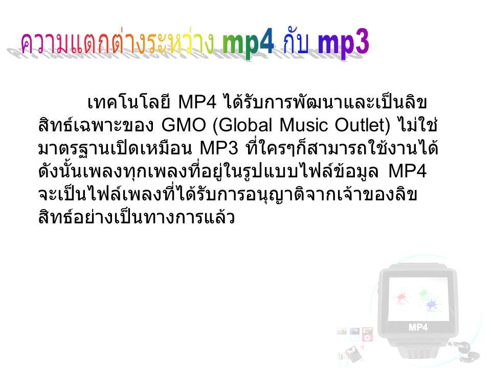 ความแตกต่างระหว่าง mp4 กับ mp3