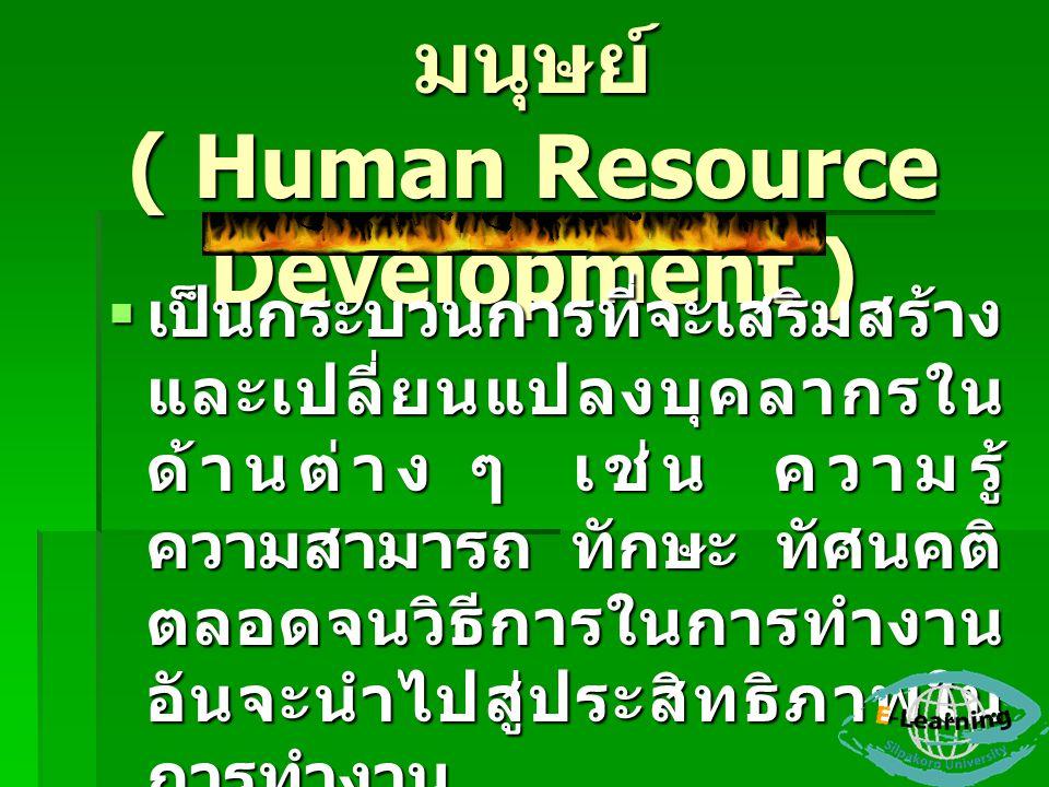 การพัฒนาทรัพยากรมนุษย์ ( Human Resource Development )