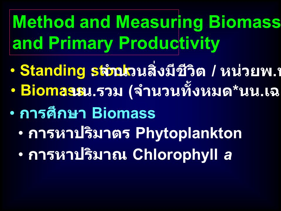 Method and Measuring Biomass and Primary Productivity
