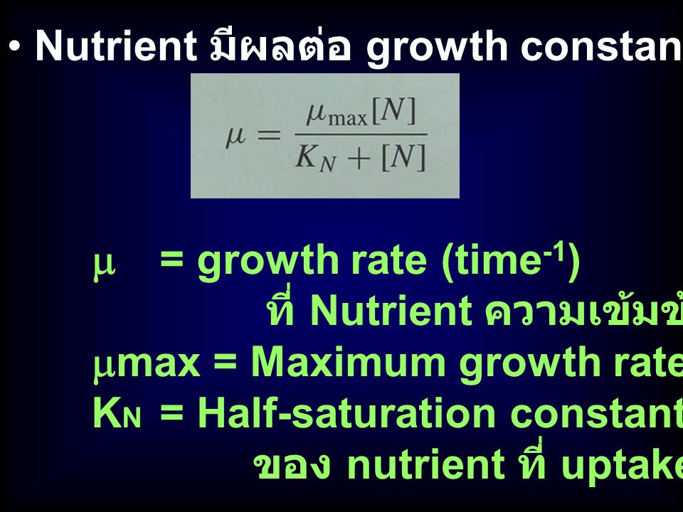 Nutrient มีผลต่อ growth constant ()