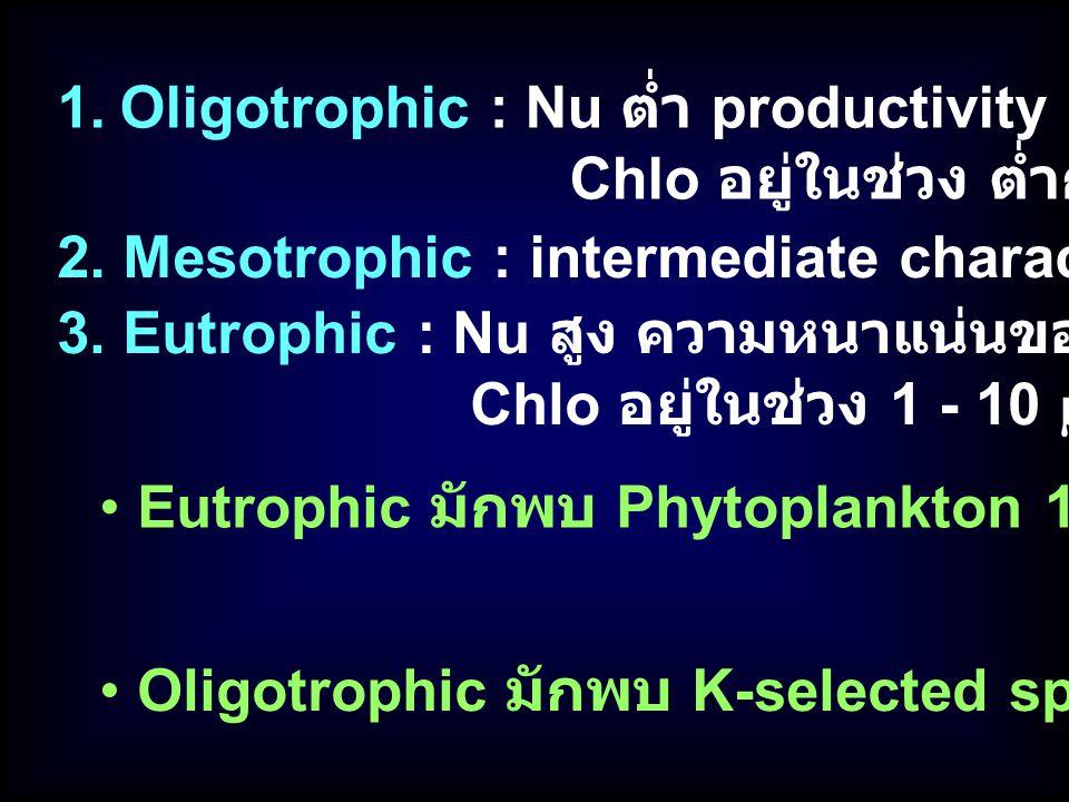 Oligotrophic : Nu ต่ำ productivity ต่ำ