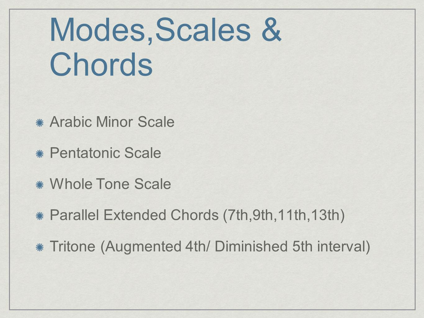 Modes,Scales & Chords Arabic Minor Scale Pentatonic Scale