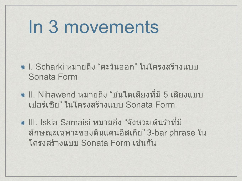 In 3 movements I. Scharki หมายถึง ตะวันออก ในโครงสร้างแบบ Sonata Form.