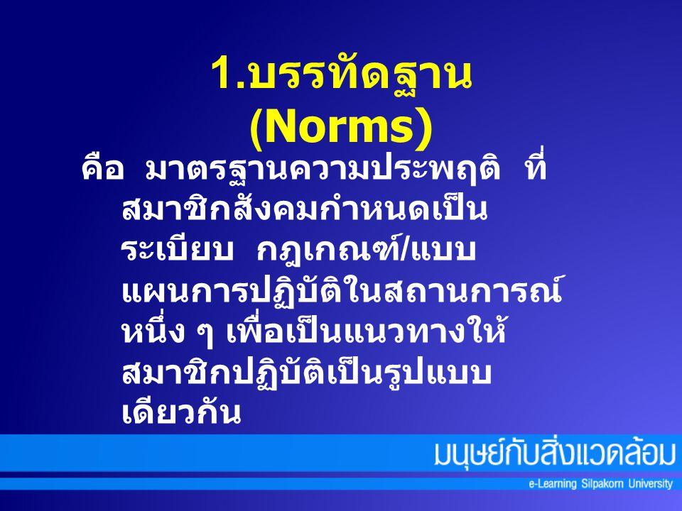 1.บรรทัดฐาน (Norms)