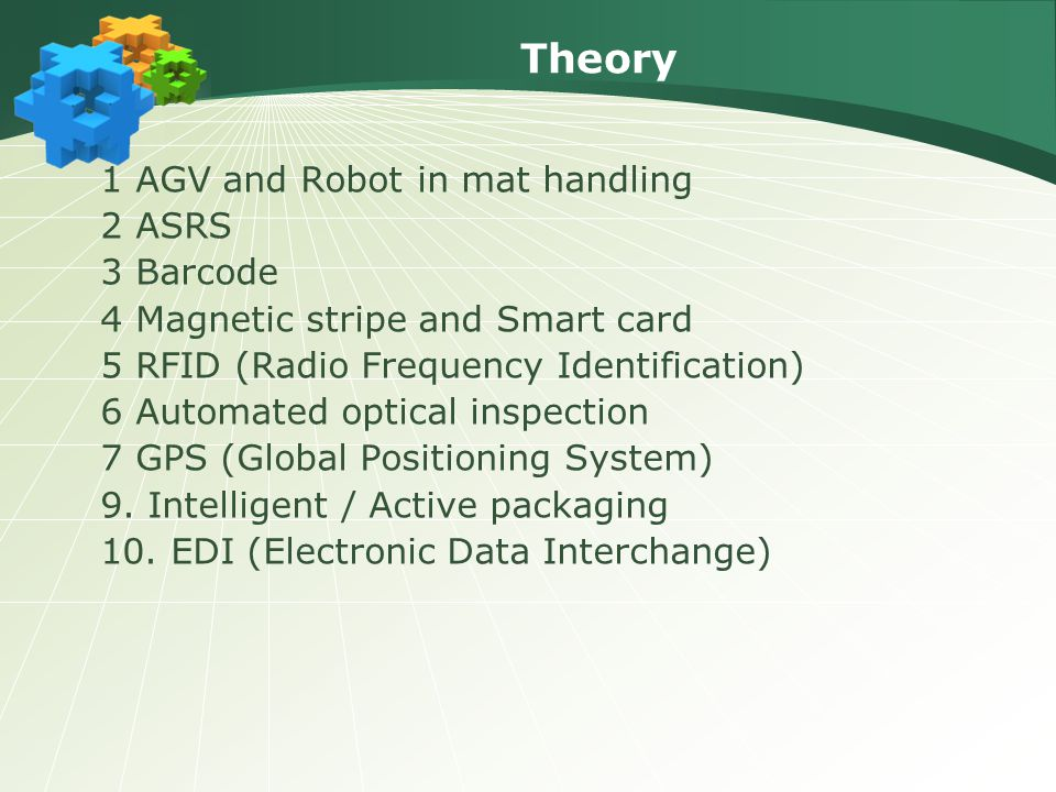Theory 1 AGV and Robot in mat handling 2 ASRS 3 Barcode