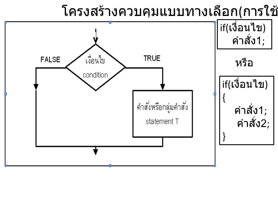 โครงสร้างควบคุมแบบทางเลือก(การใช้คำสั่ง if)