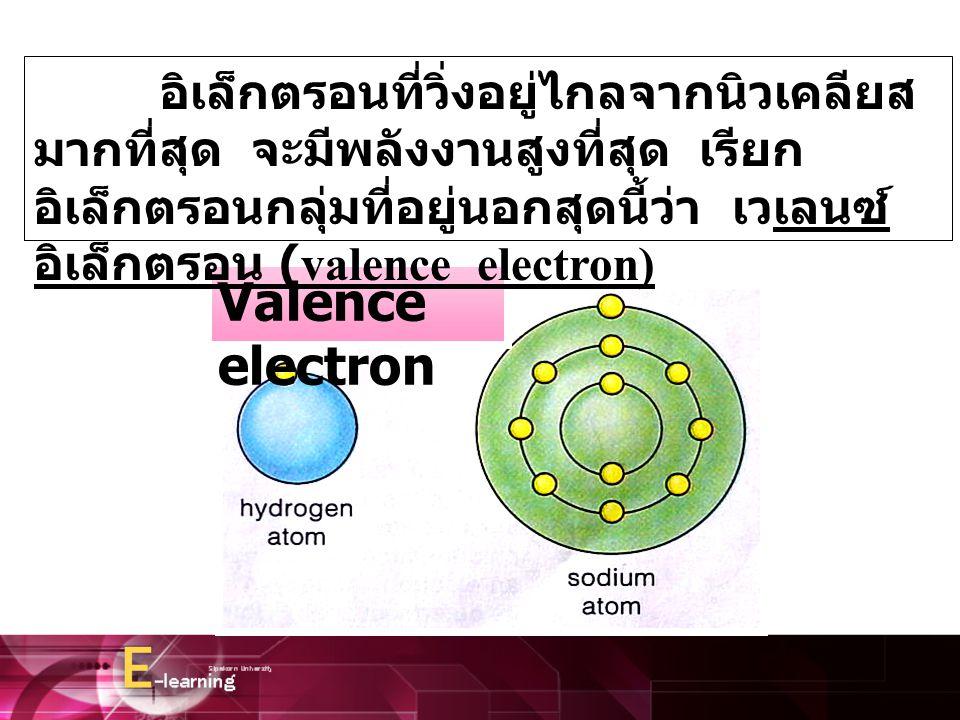 อิเล็กตรอนที่วิ่งอยู่ไกลจากนิวเคลียสมากที่สุด จะมีพลังงานสูงที่สุด เรียกอิเล็กตรอนกลุ่มที่อยู่นอกสุดนี้ว่า เวเลนซ์อิเล็กตรอน (valence electron)