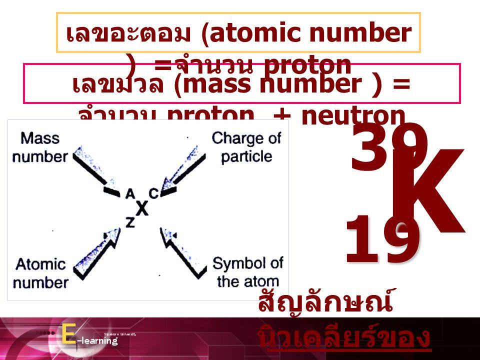 K 39 19 สัญลักษณ์นิวเคลียร์ของธาตุ