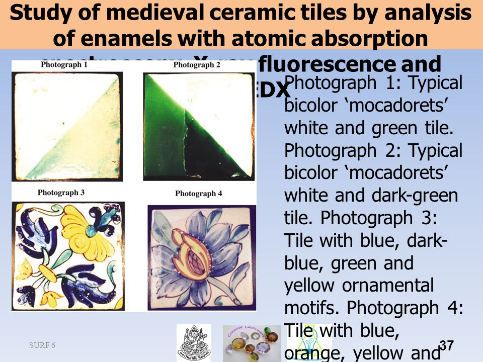 Study of medieval ceramic tiles by analysis of enamels with atomic absorption spectroscopy, X-ray fluorescence and SEM-EDX