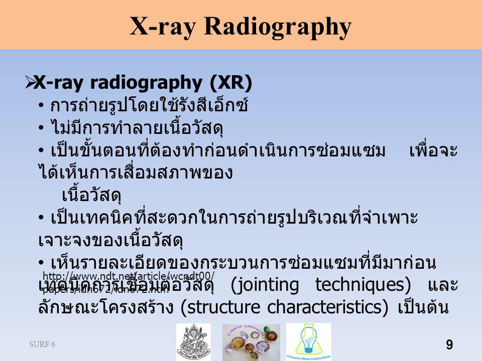 X-ray Radiography X-ray radiography (XR) การถ่ายรูปโดยใช้รังสีเอ็กซ์