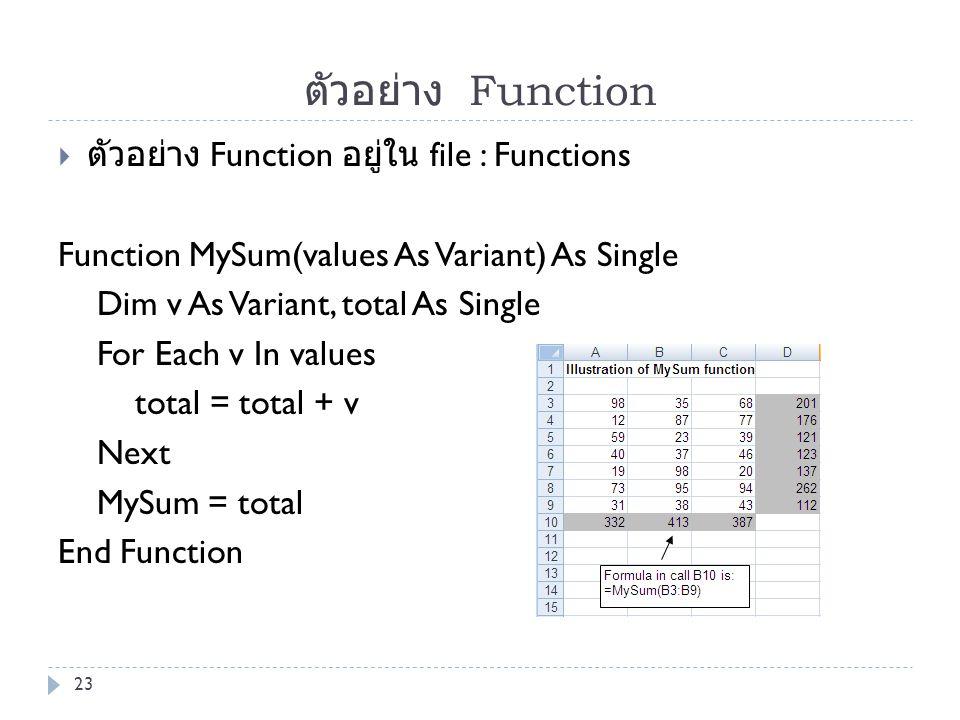 ตัวอย่าง Function ตัวอย่าง Function อยู่ใน file : Functions