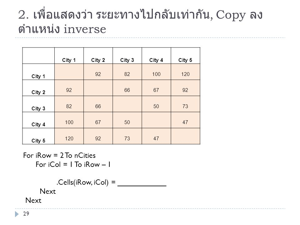2. เพื่อแสดงว่า ระยะทางไปกลับเท่ากัน, Copy ลงตำแหน่ง inverse