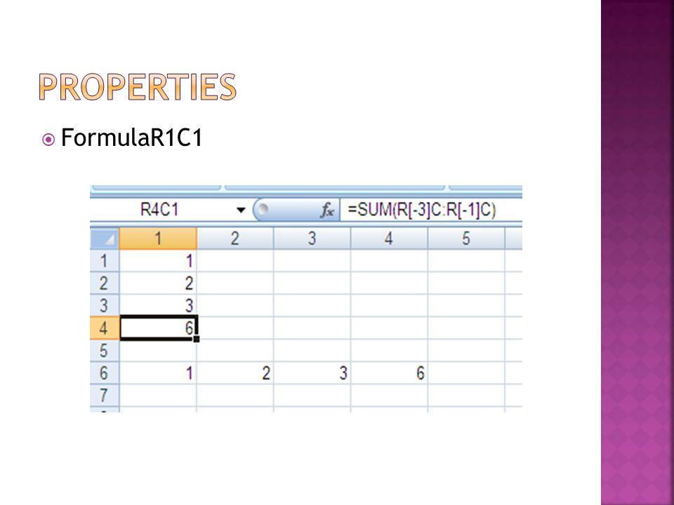Properties FormulaR1C1
