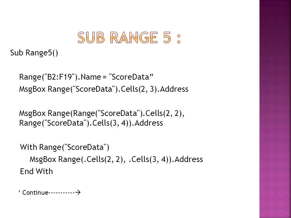 Sub range 5 : Sub Range5() Range( B2:F19 ).Name = ScoreData