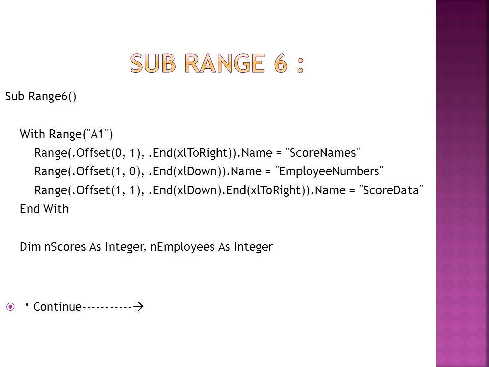 Sub rangE 6 : ' Continue----------- Sub Range6() With Range( A1 )