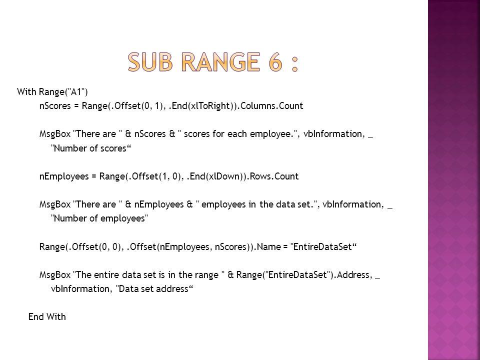 Sub rangE 6 : With Range( A1 )