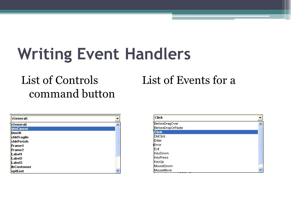 Writing Event Handlers