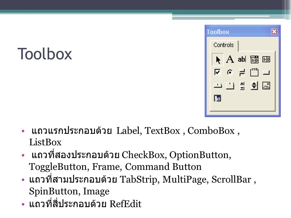 Toolbox แถวแรกประกอบด้วย Label, TextBox , ComboBox , ListBox
