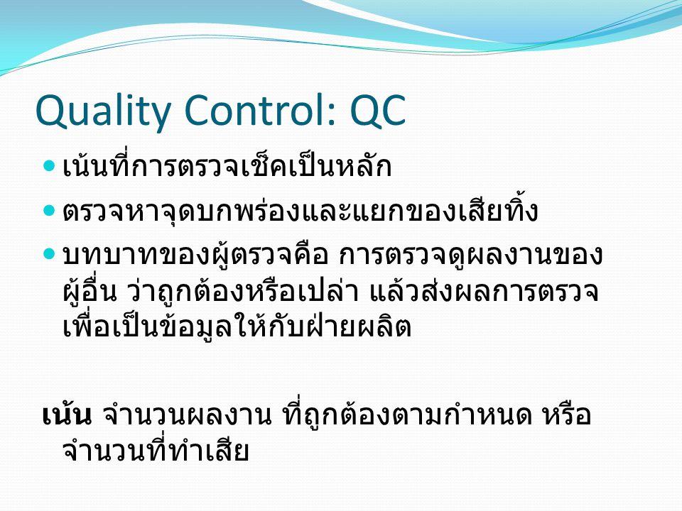 Quality Control: QC เน้นที่การตรวจเช็คเป็นหลัก