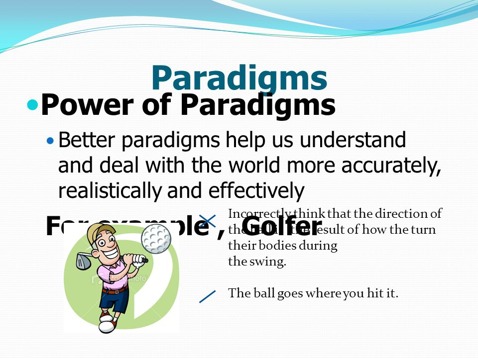 Paradigms Power of Paradigms For example , Golfer