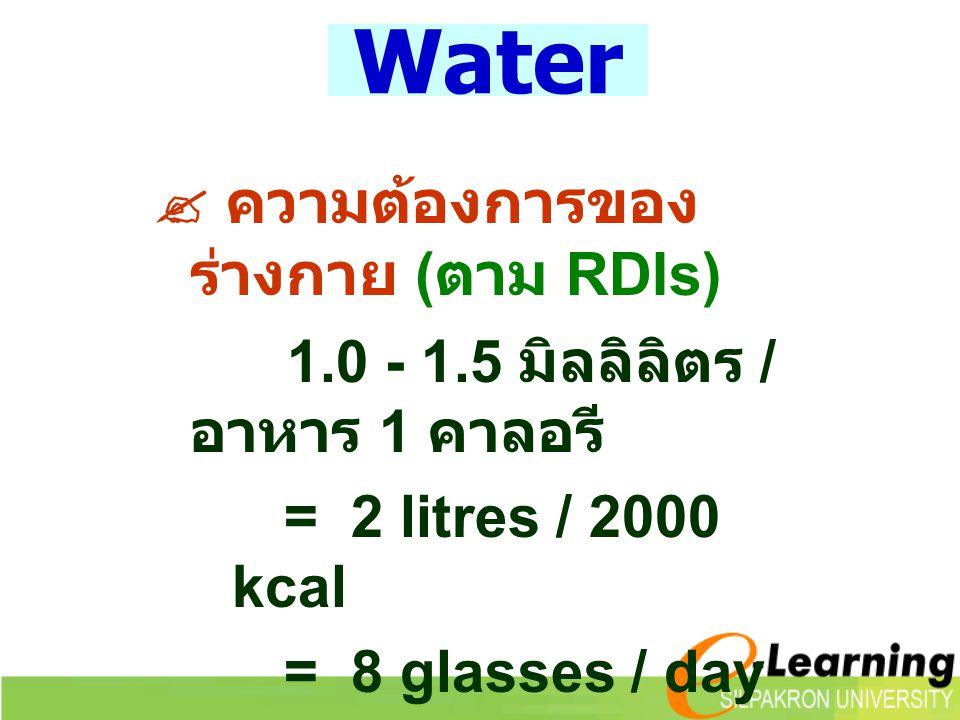 Water  ความต้องการของร่างกาย (ตาม RDIs)