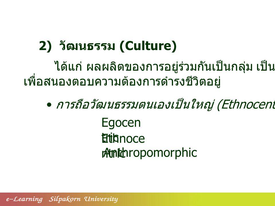 2) วัฒนธรรม (Culture) ได้แก่ ผลผลิตของการอยู่ร่วมกันเป็นกลุ่ม เป็นสิ่งที่มนุษย์สร้างขึ้นมา. เพื่อสนองตอบความต้องการดำรงชีวิตอยู่
