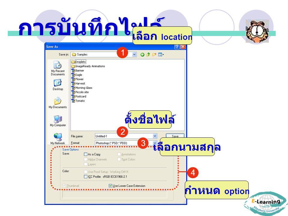 การบันทึกไฟล์ เลือก location ตั้งชื่อไฟล์ เลือกนามสกุล กำหนด option 1