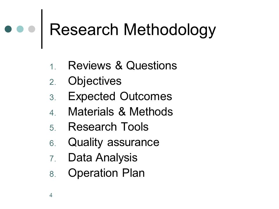Research Methodology Reviews & Questions Objectives Expected Outcomes