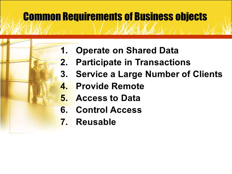 Common Requirements of Business objects
