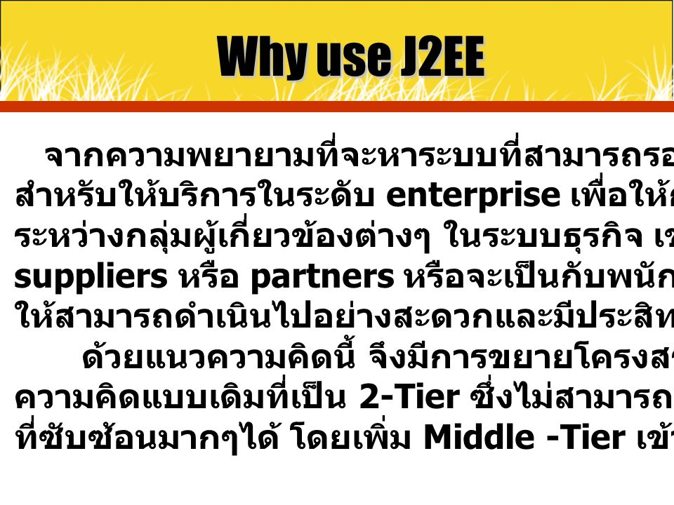 Why use J2EE