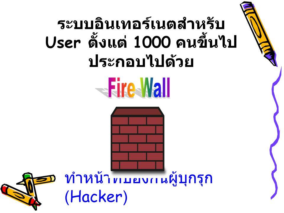 ระบบอินเทอร์เนตสำหรับ User ตั้งแต่ 1000 คนขึ้นไป ประกอบไปด้วย