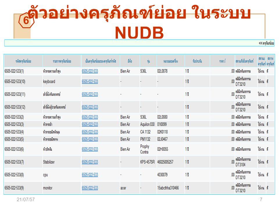 ตัวอย่างครุภัณฑ์ย่อย ในระบบ NUDB