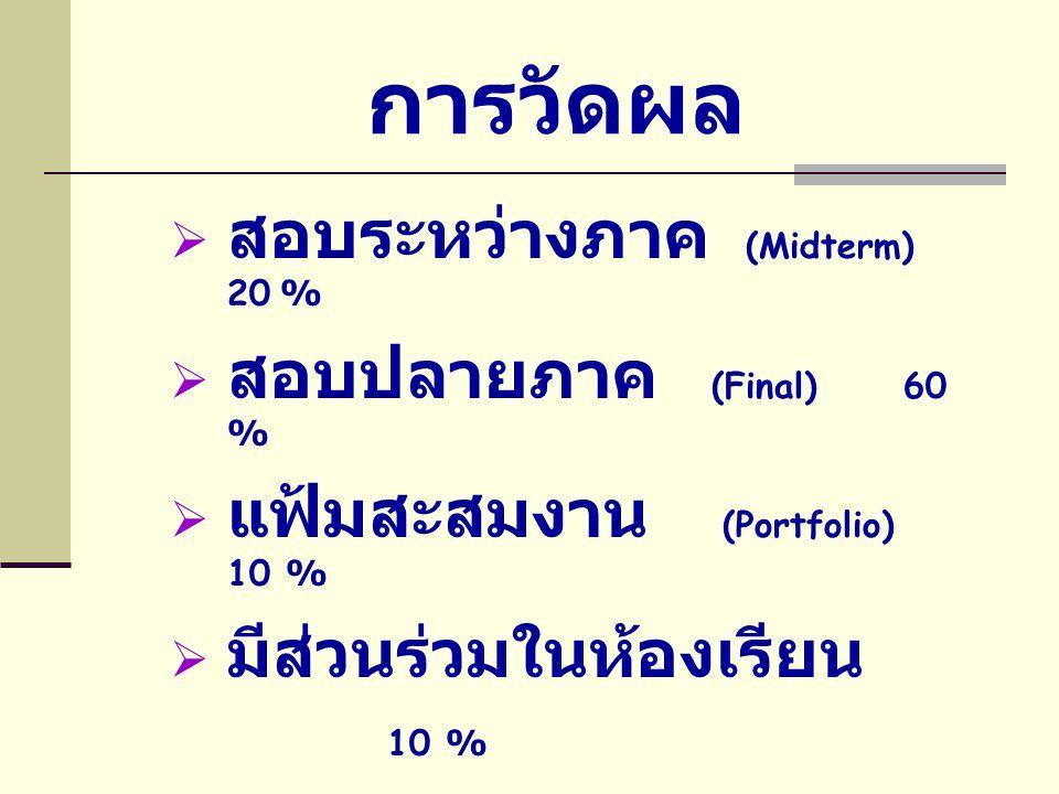 การวัดผล สอบระหว่างภาค (Midterm) 20 % สอบปลายภาค (Final) 60 %