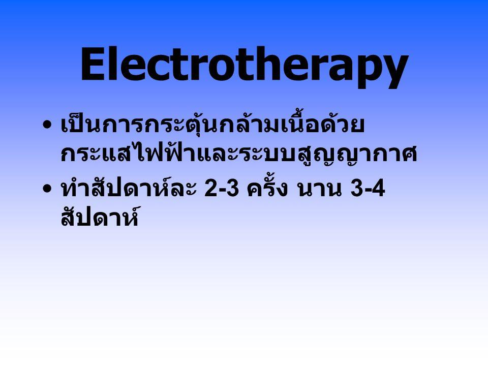 Electrotherapy เป็นการกระตุ้นกล้ามเนื้อด้วยกระแสไฟฟ้าและระบบสูญญากาศ