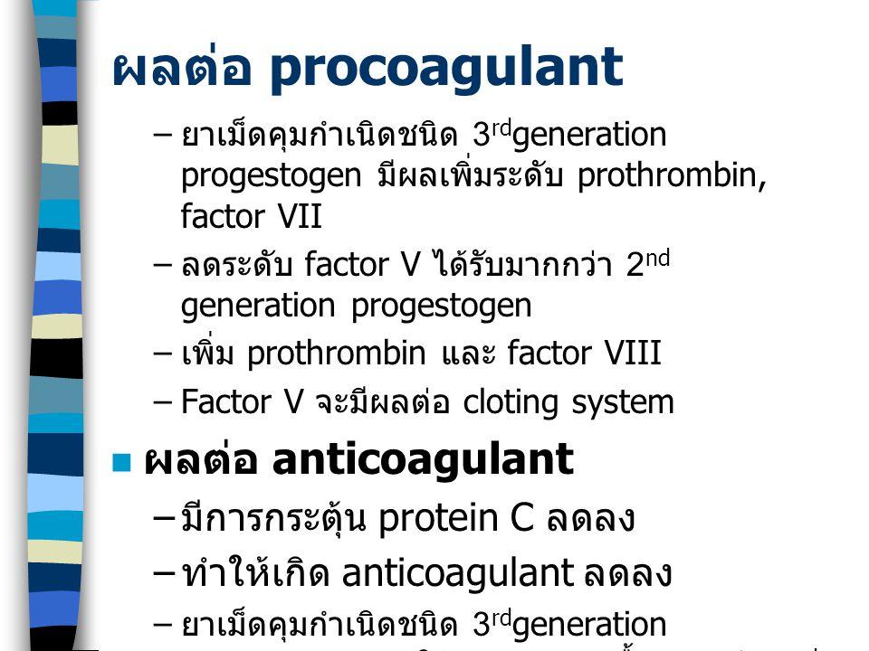 ผลต่อ procoagulant ผลต่อ anticoagulant มีการกระตุ้น protein C ลดลง