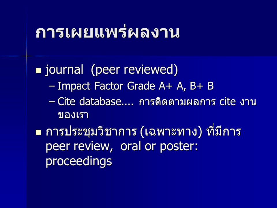 การเผยแพร่ผลงาน journal (peer reviewed)
