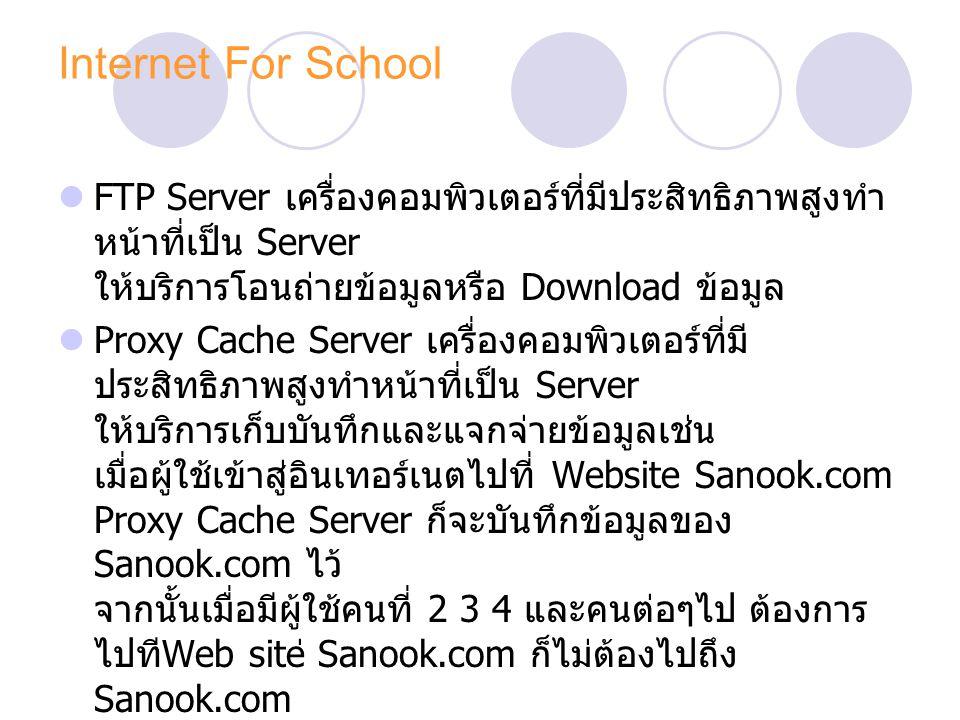 Internet For School FTP Server เครื่องคอมพิวเตอร์ที่มีประสิทธิภาพสูงทำหน้าที่เป็น Server ให้บริการโอนถ่ายข้อมูลหรือ Download ข้อมูล.